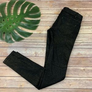 Free People black and gold leopard skinny jeans